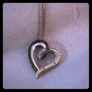 Black and white lab created diamond heart necklace